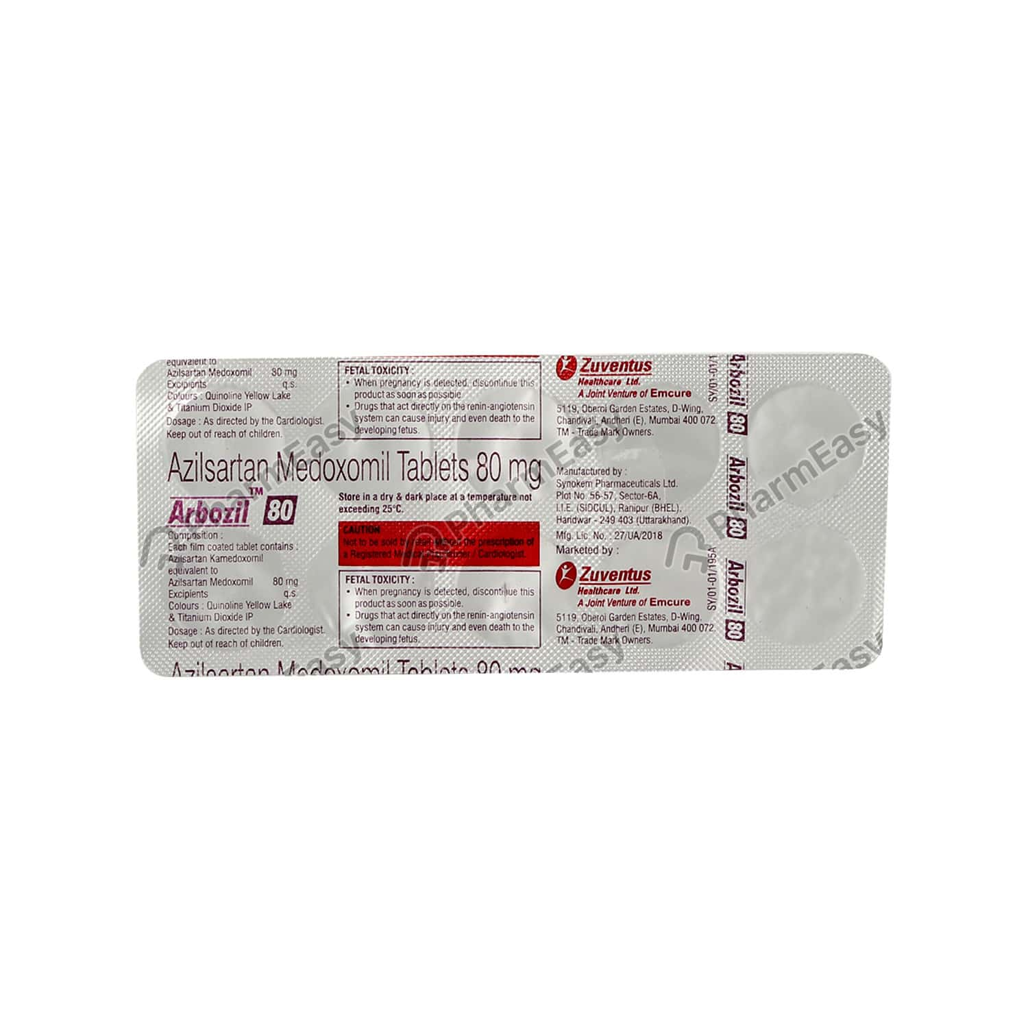 Arbozil 80mg Strip Of 10 Tablets