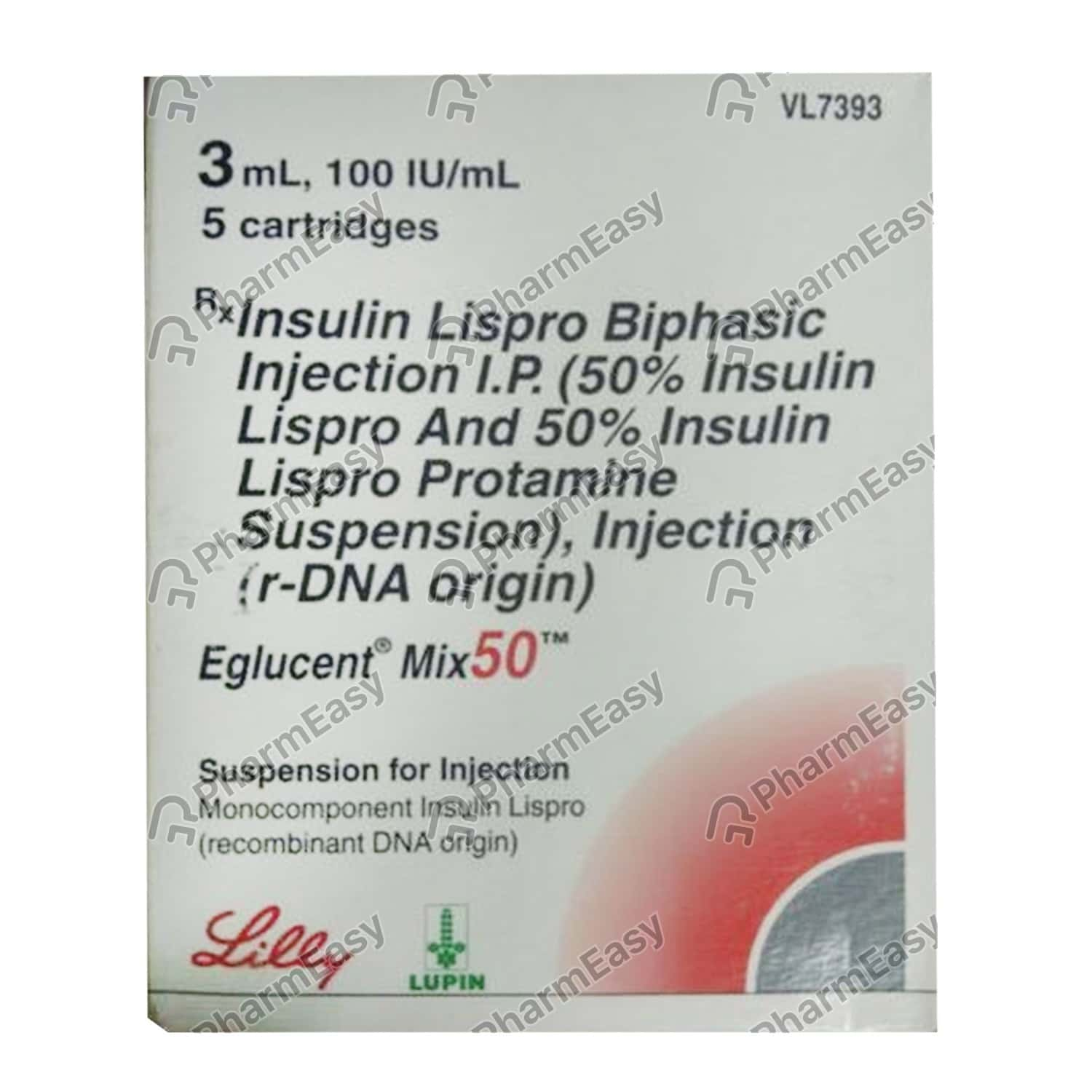 Eglucent Mix 50 100iu Cartridges Of 3ml Suspension For Injection