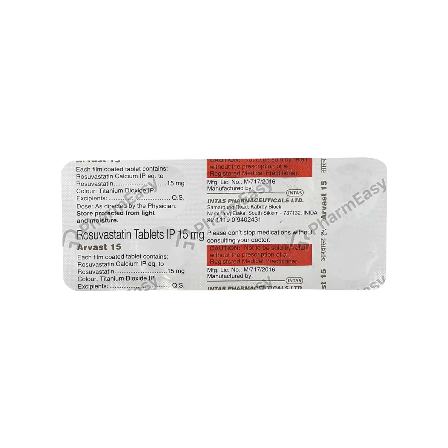 Arvast 15mg Strip Of 10 Tablets