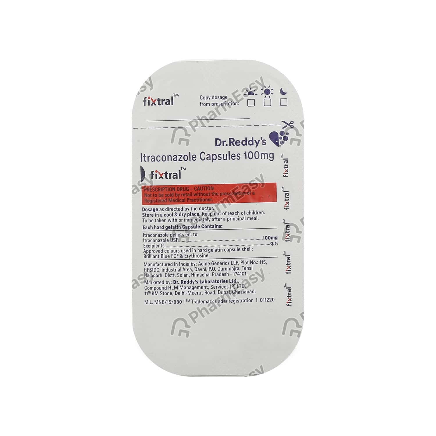 Fixtral 100mg Strip Of 7 Capsules