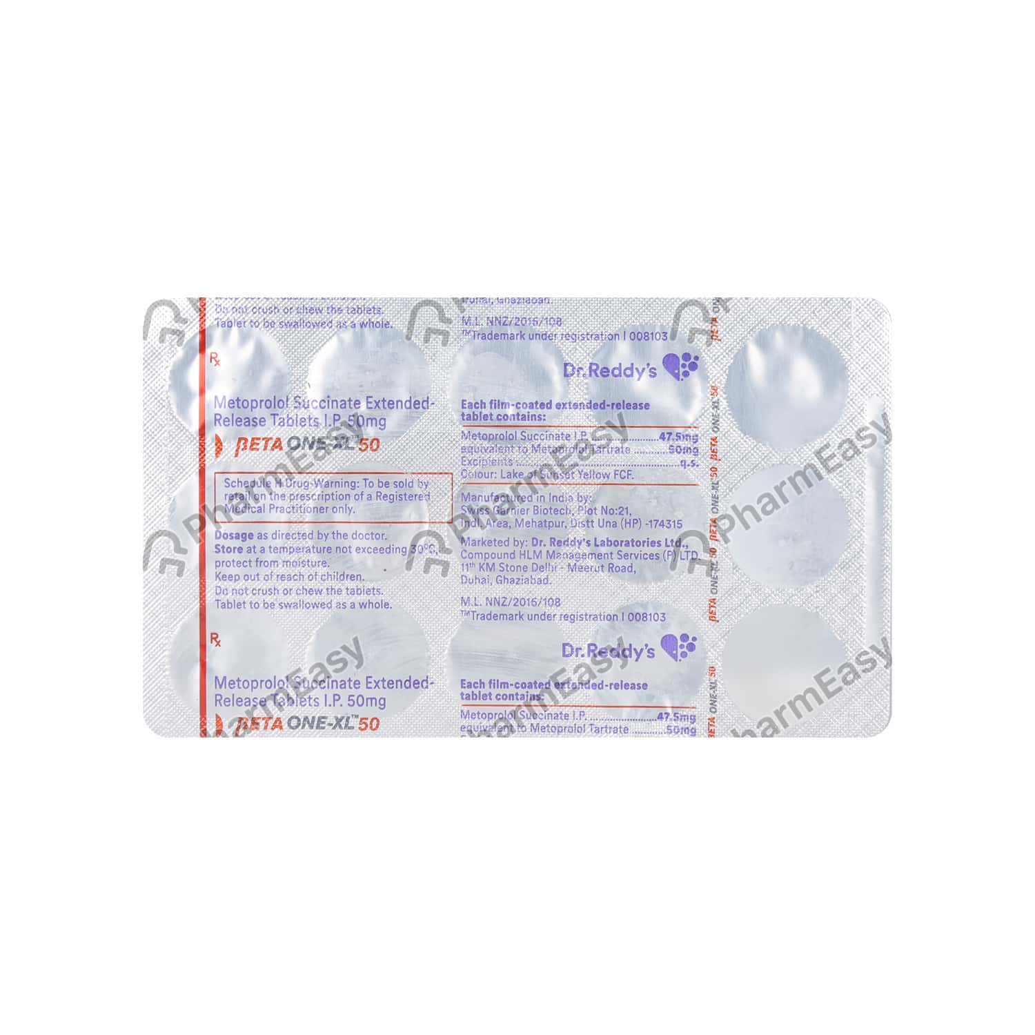 Betaone Xl 50 Strip Of 15 Tablets