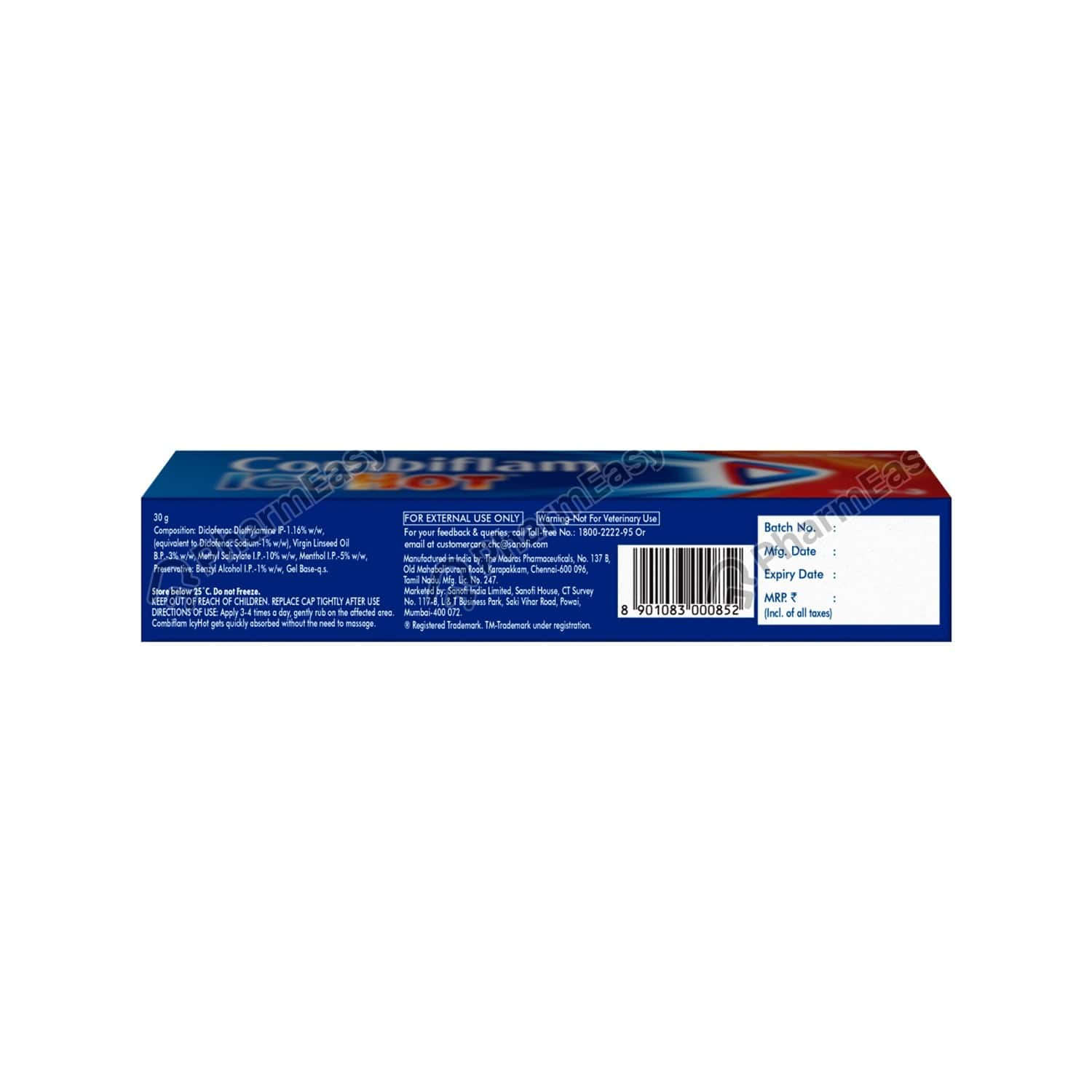 Combiflam Icyhot Fast Pain Relief Gel - 30 Gms Tube