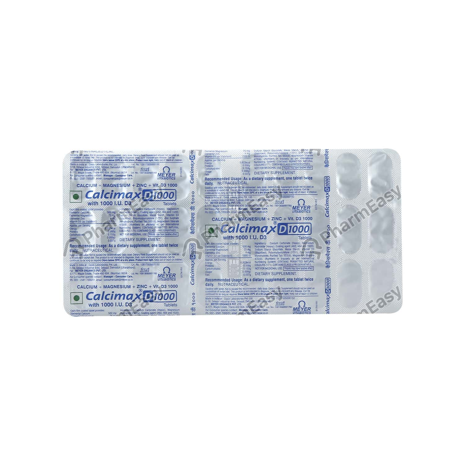 Calcimax D 1000mg Strip Of 30 Tablets