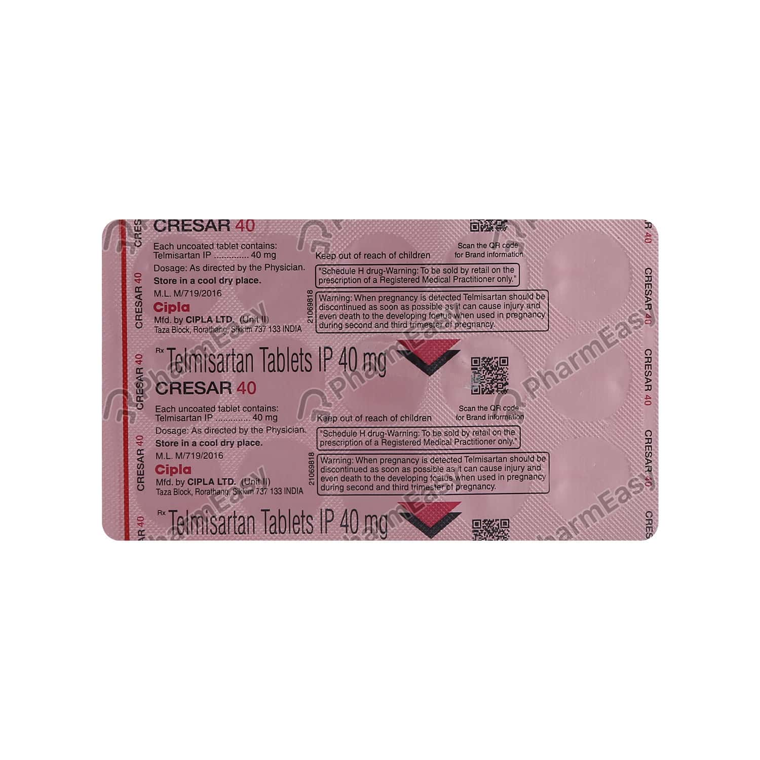 Cresar 40mg Strip Of 15 Tablets