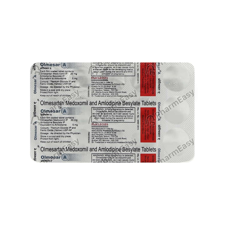Olmesar A 20mg Strip Of 15 Tablets