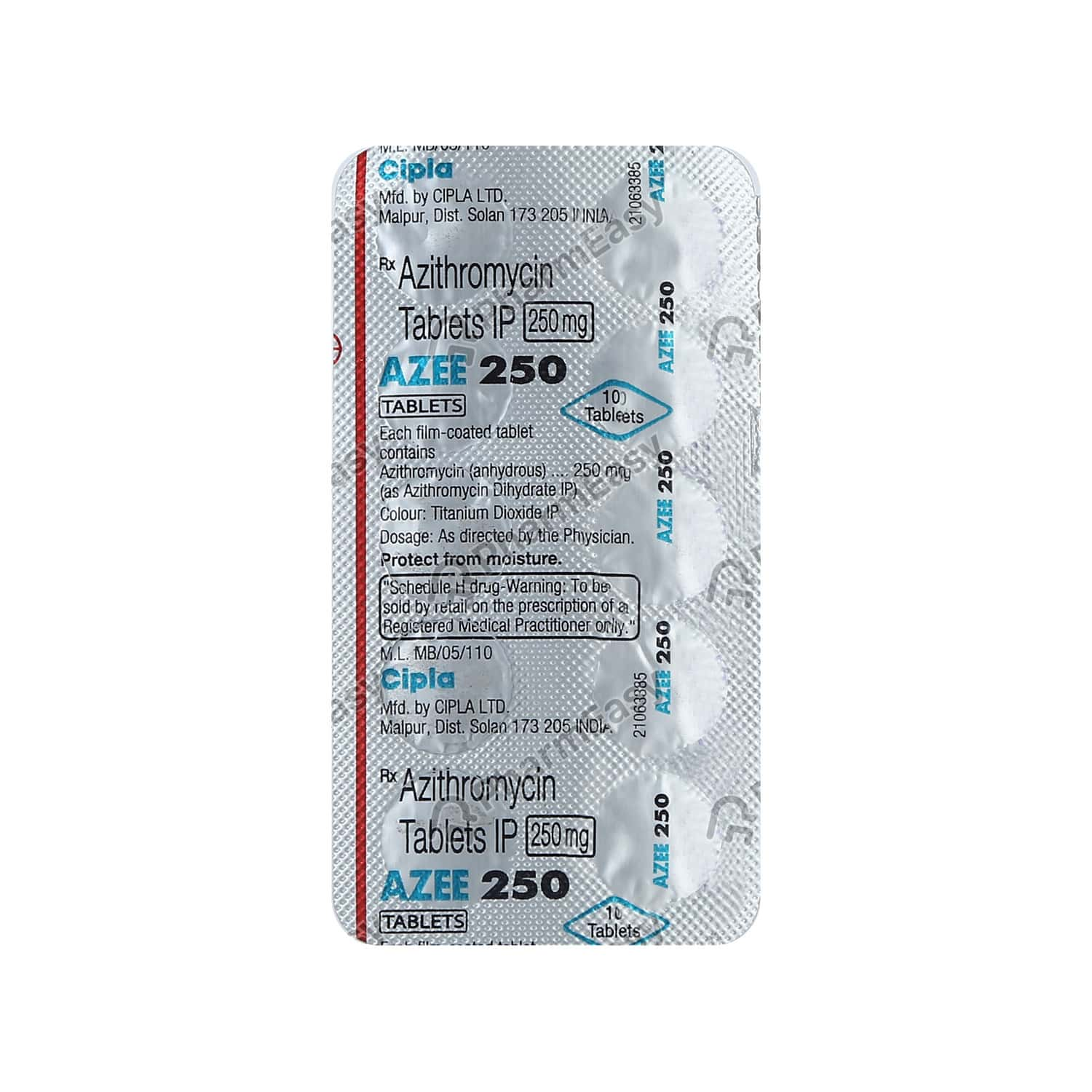 Azee 250mg Strip Of 10 Tablets