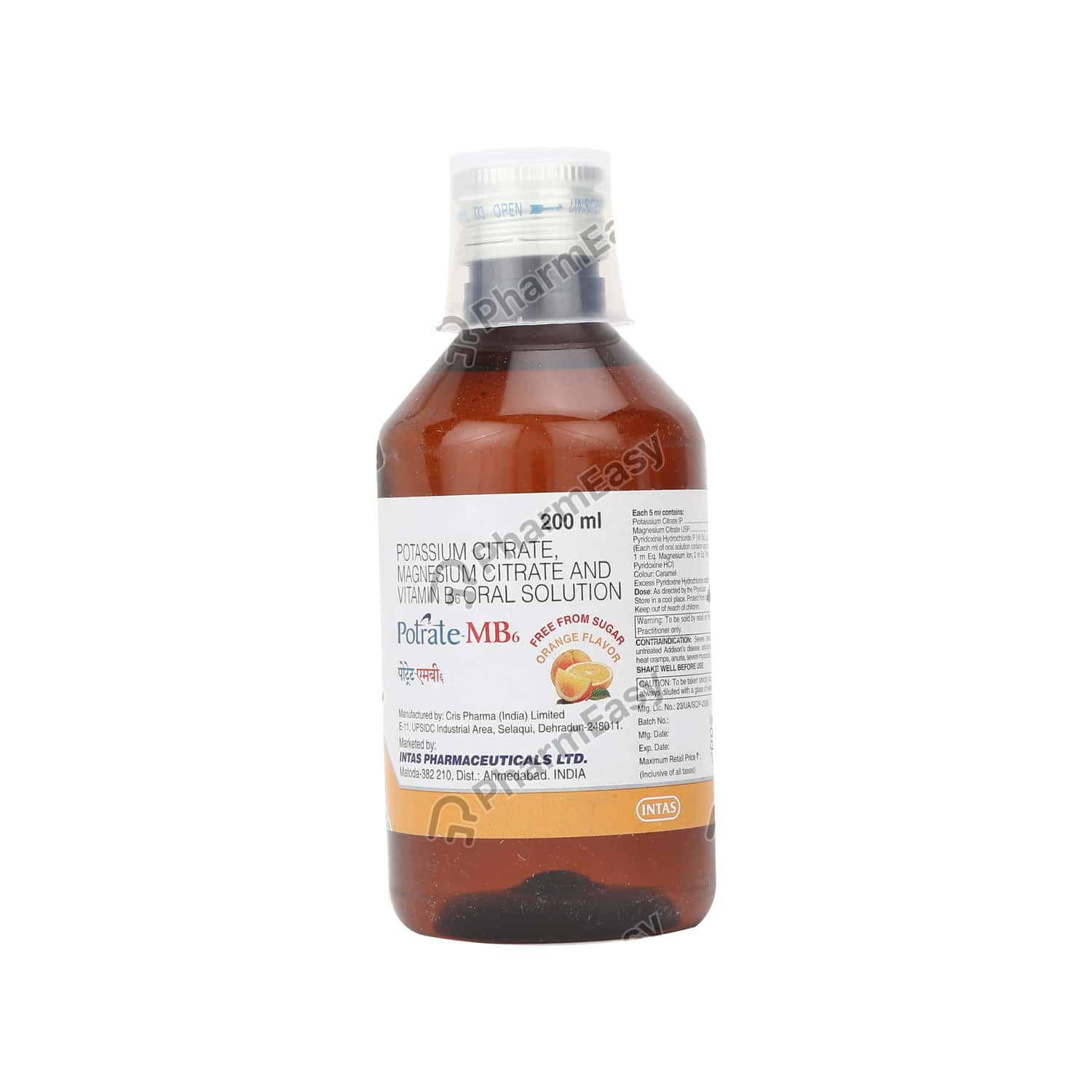 Potrate Mb6 Orange Flavour Sugar Free Bottle Of 200ml Solution