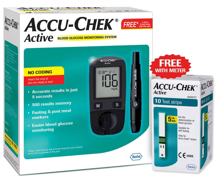 Accu-chek Active Blood Glucometer With Free 10 Strips