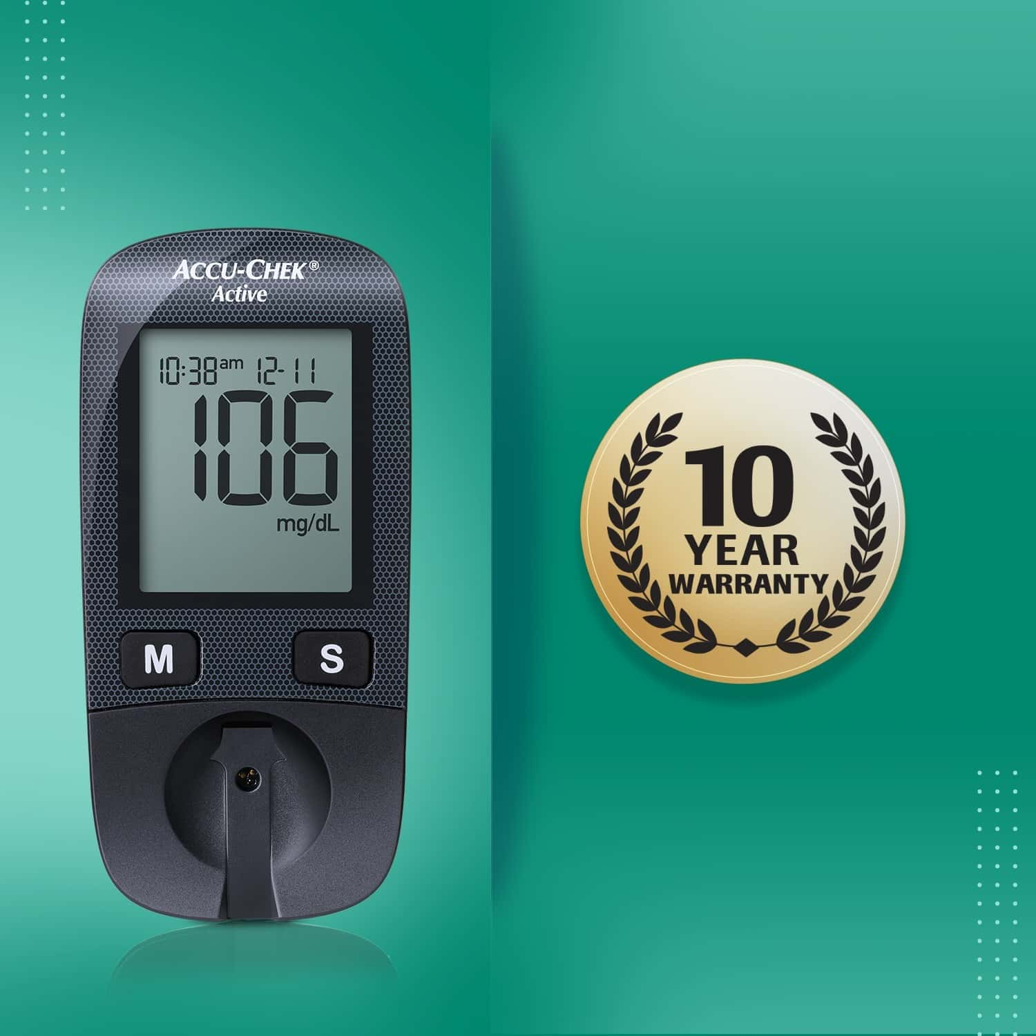 Accu-chek Active Glucometer Kit (with Free 10 Strips)