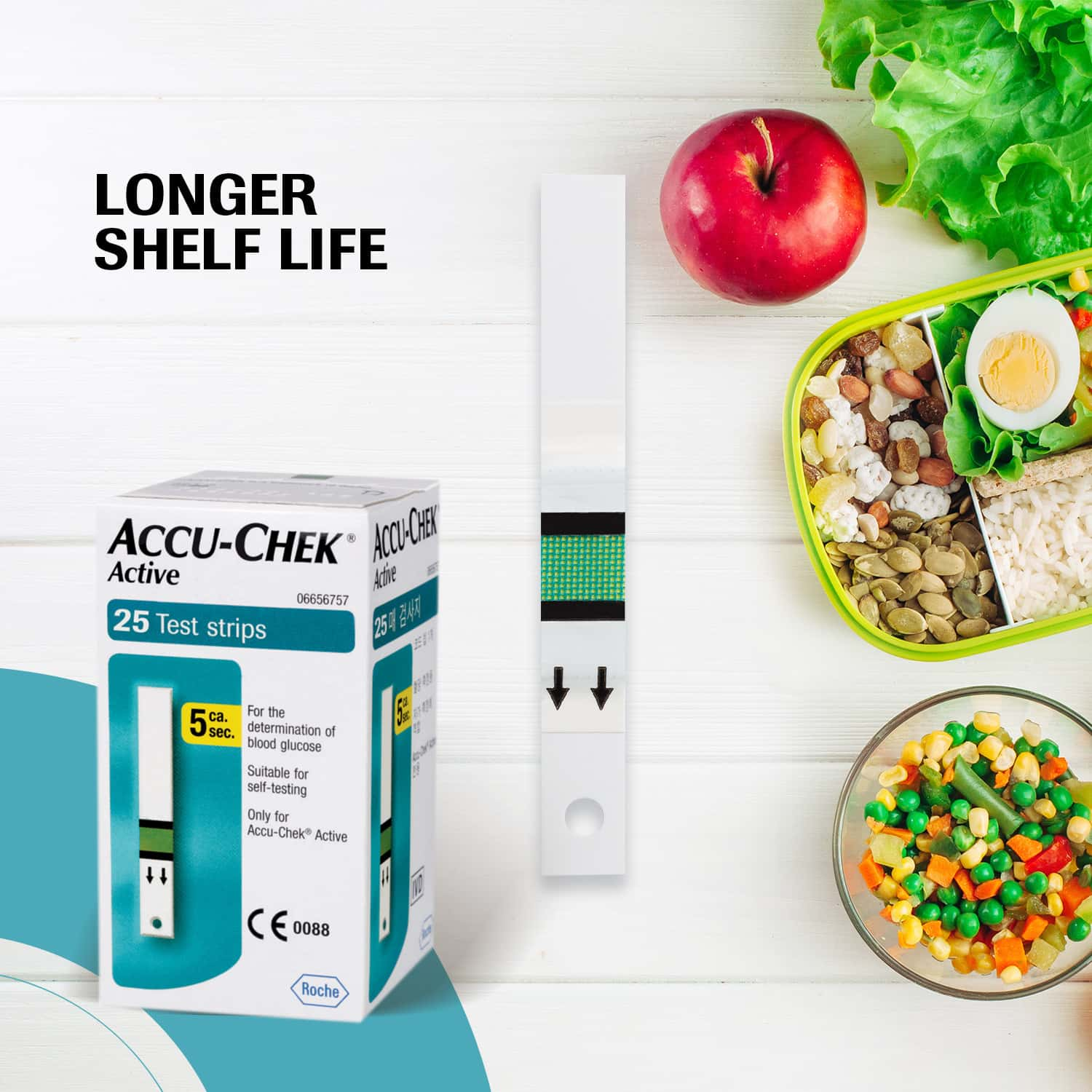 Accu-chek Active Glucometer Test Strips Strip Of 25
