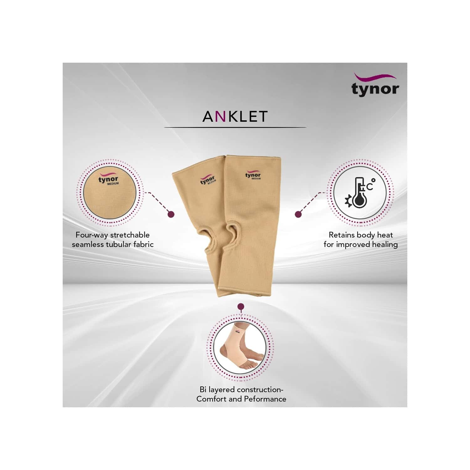 Tynor Anklet ( Compression,support, Pain Relief) - Large