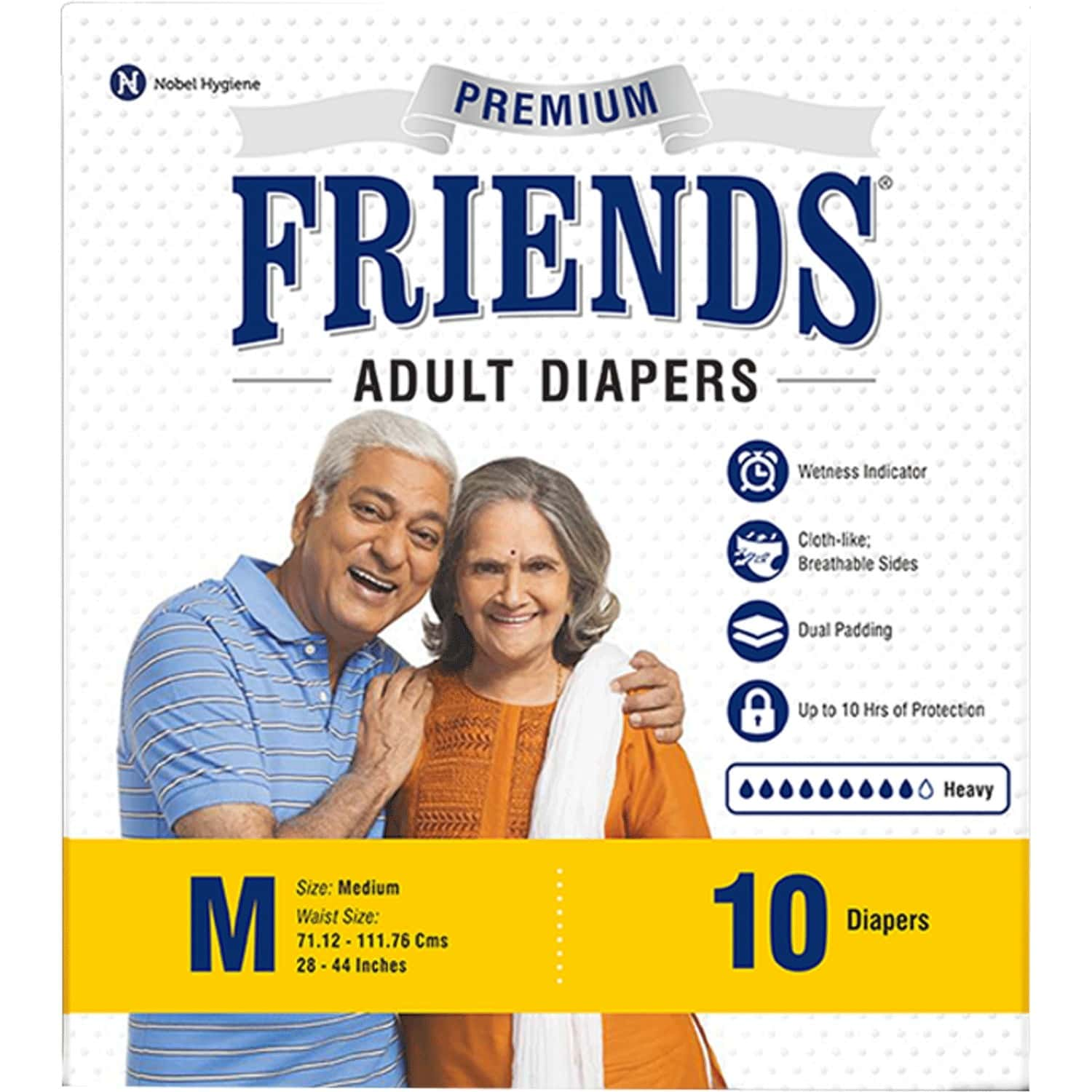 Friends Easy Adult Diapers Medium Size - Waist 28-44 Inch - High Absorbency Anti-bacterial Core - 10's