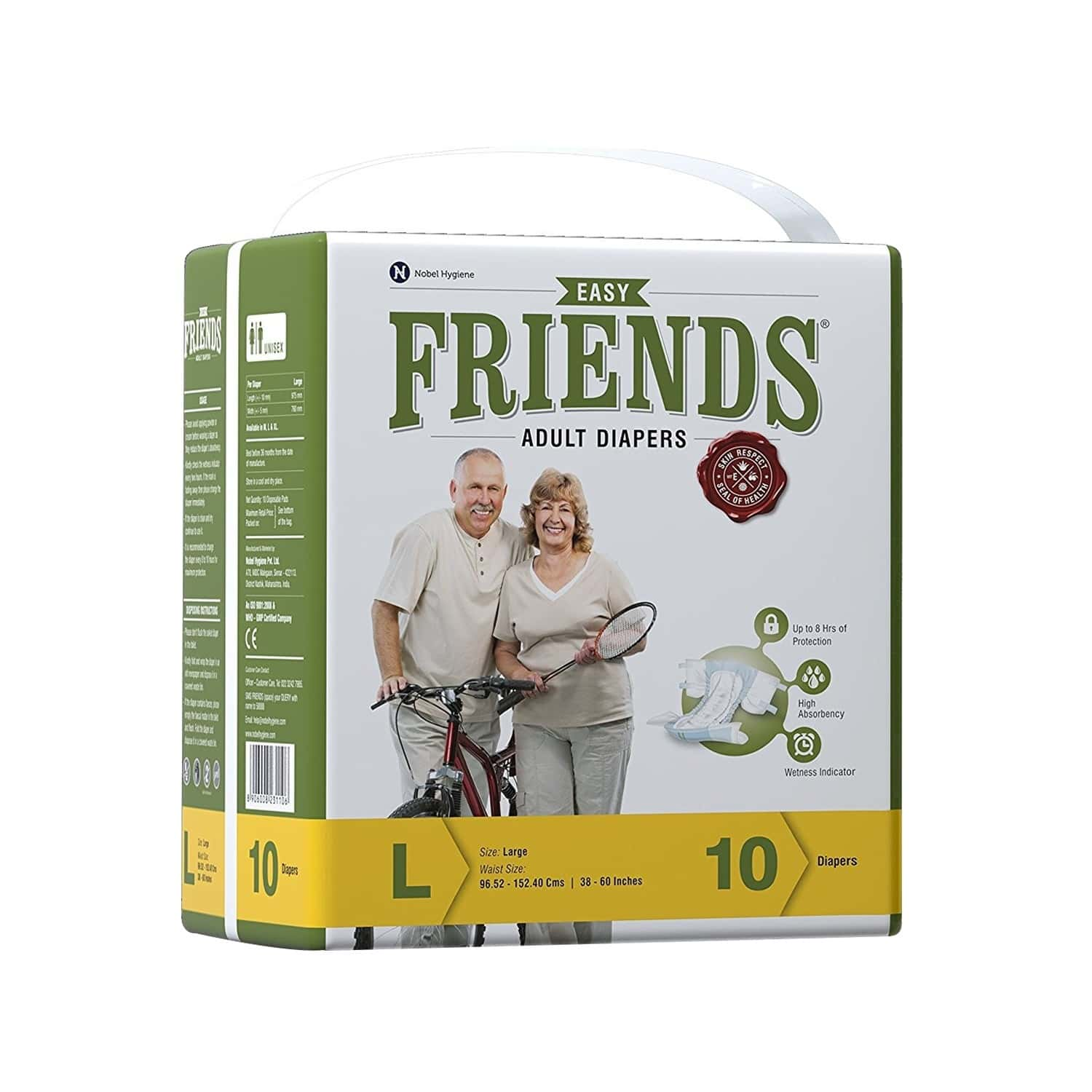 Friends Easy Adult Diapers Large Size, Waist 38-60 Inch, High Absorbency Anti-bacterial Core