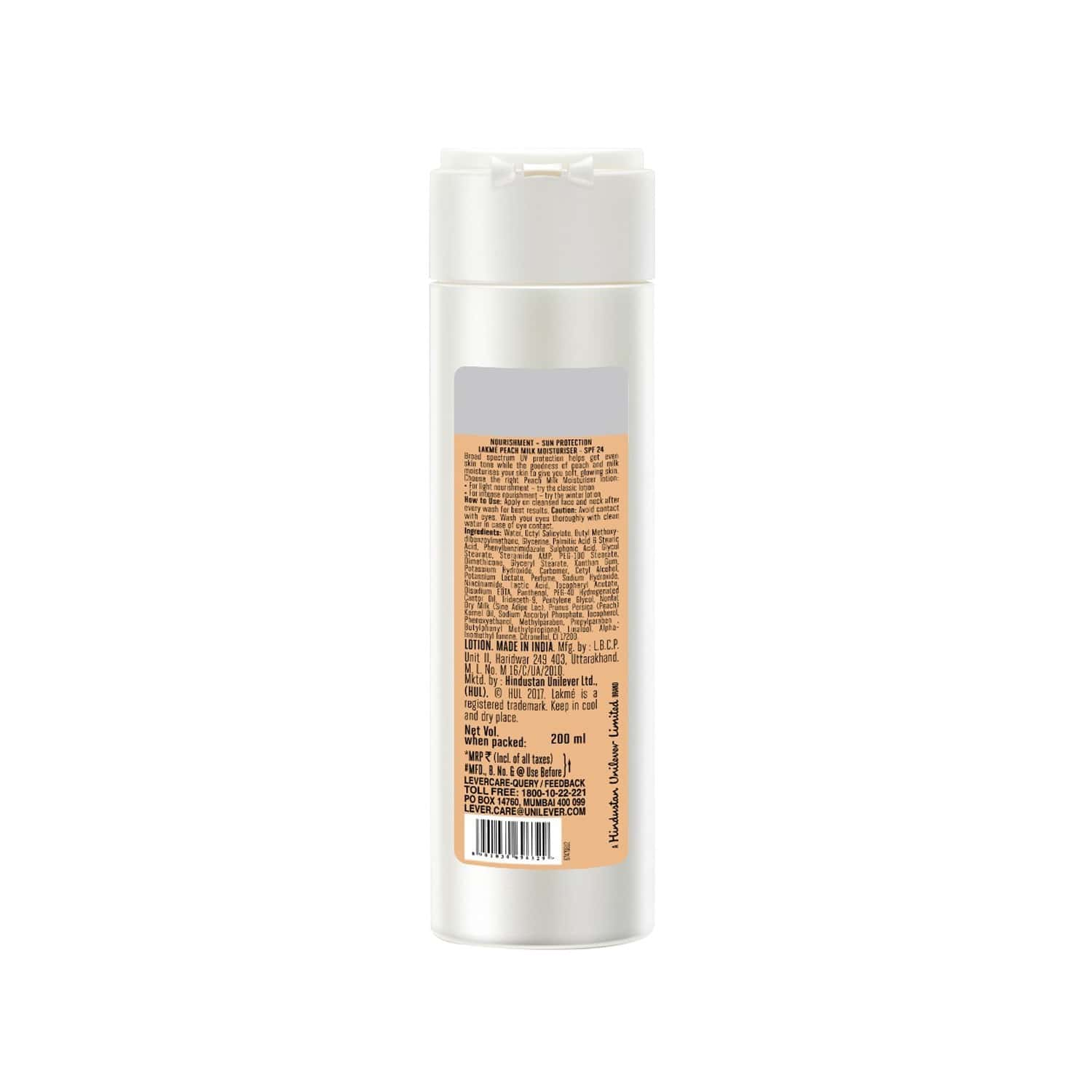 Lakme Peach Milk Moisturizer Spf 24 Pa++, 200 Ml