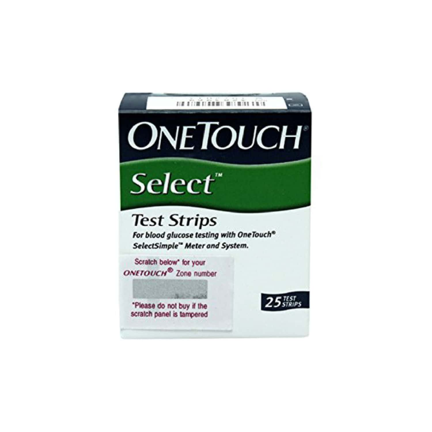 One Touch Select Glucometer Test Strips Bottle Of 25