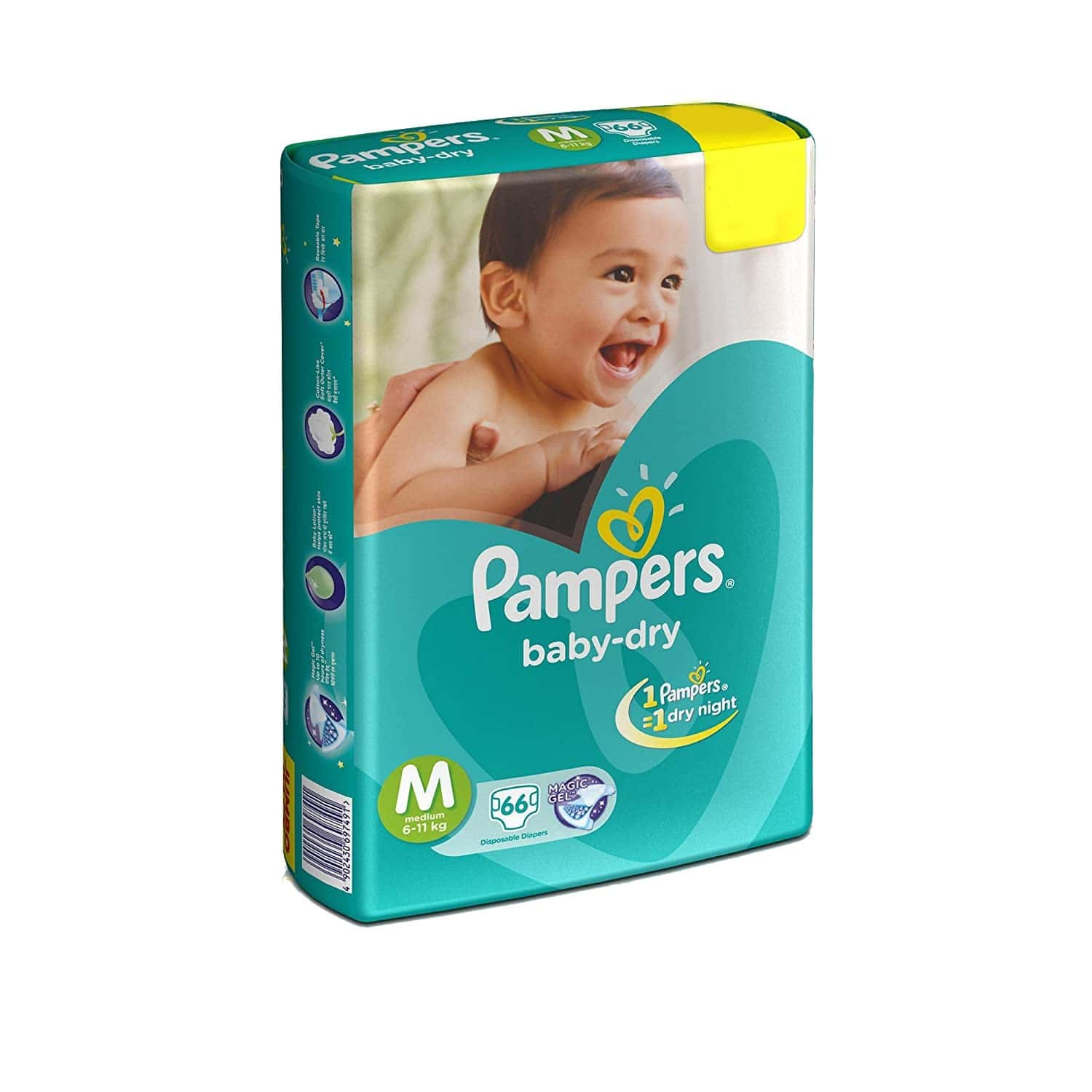 Pampers Baby Diapers Taped Medium Size 10 Pieces