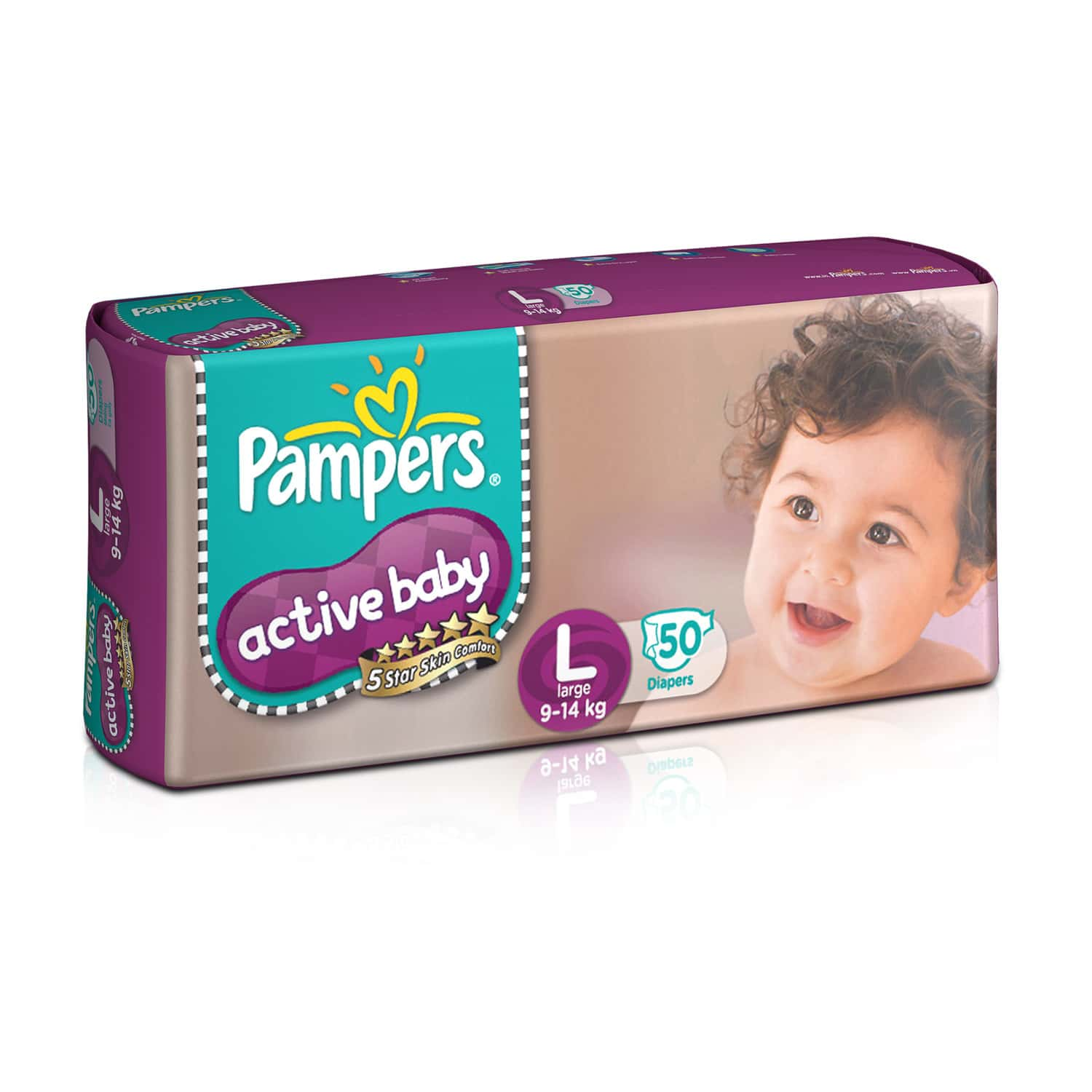 Pampers Active Baby Diapers Large Size 50 Pieces Pack