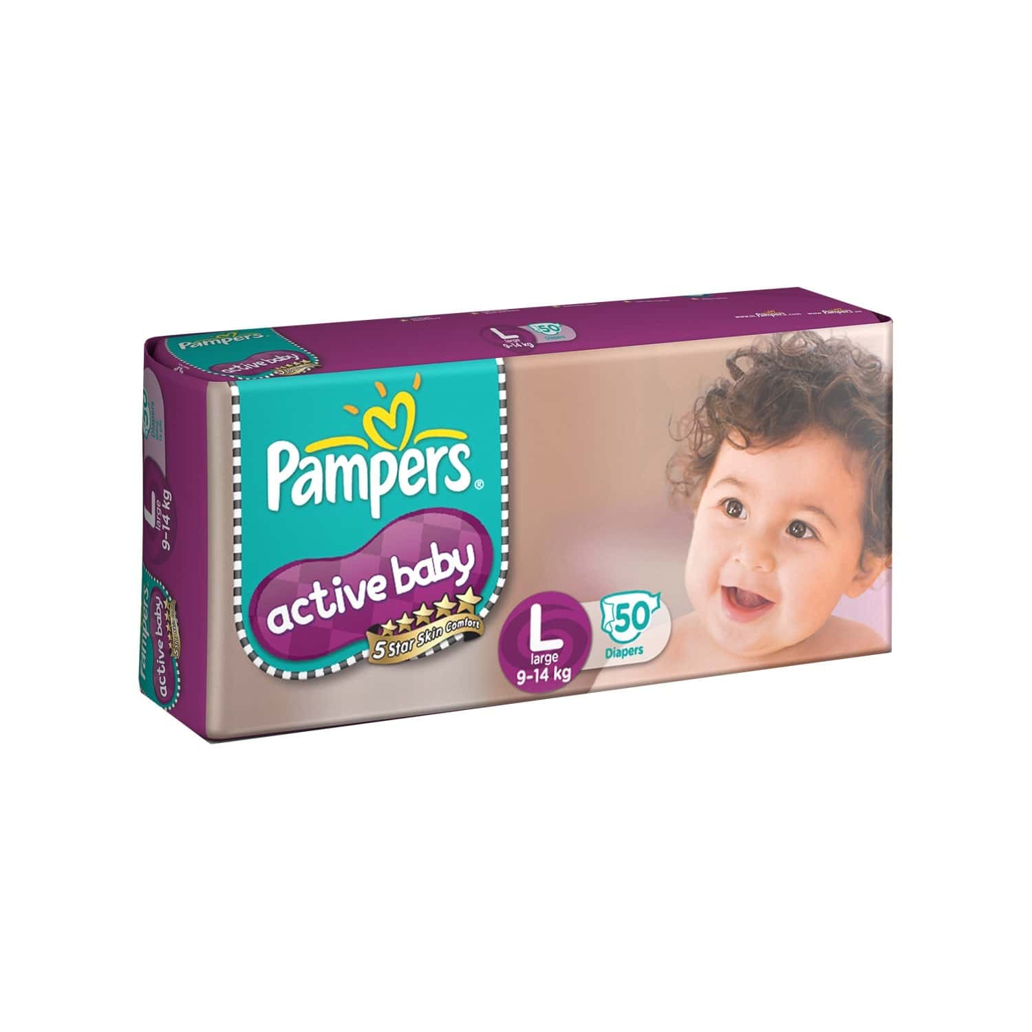 Pampers Active Baby Diapers, Large - 50 Count
