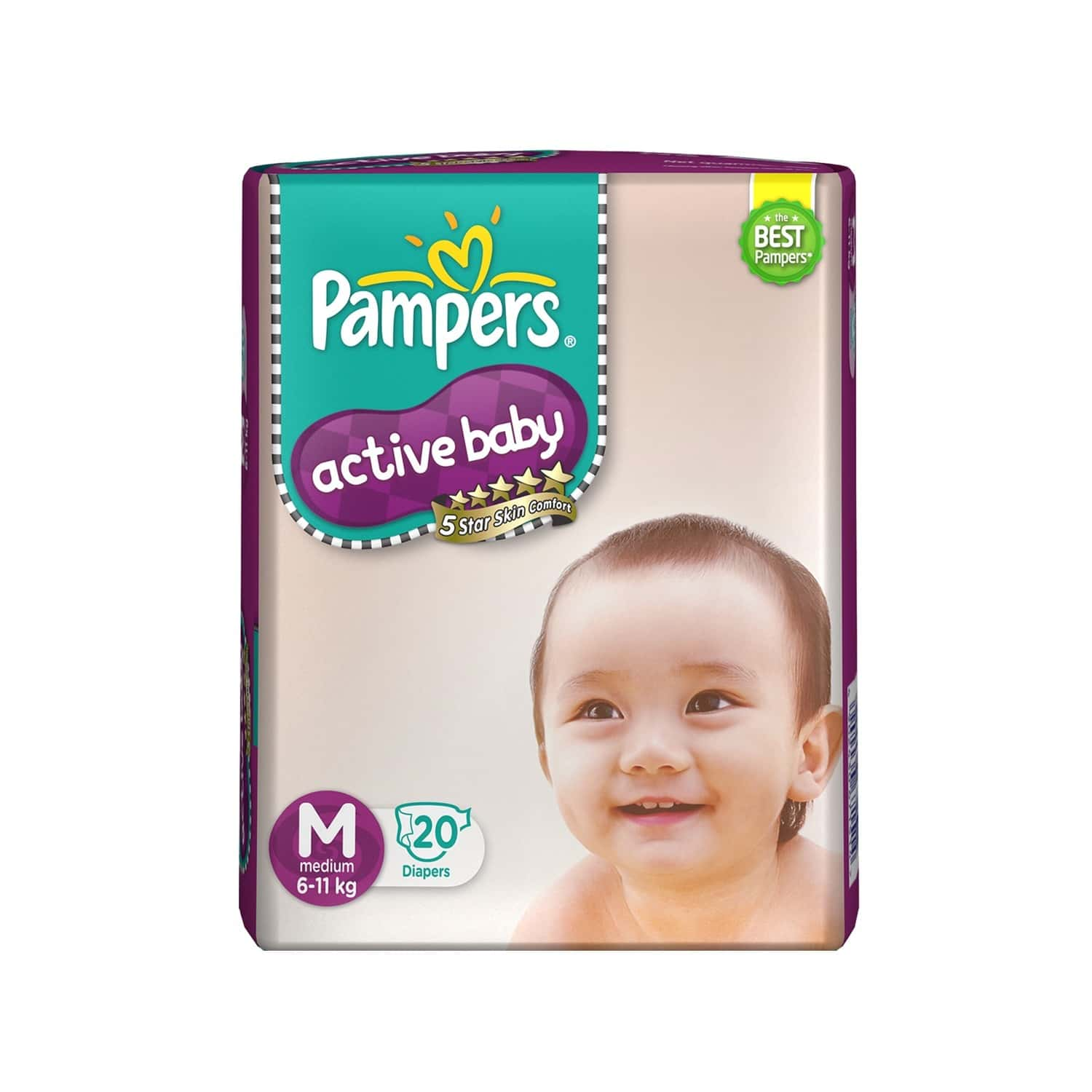Pampers Active Baby Diaper Size M Packet Of 20