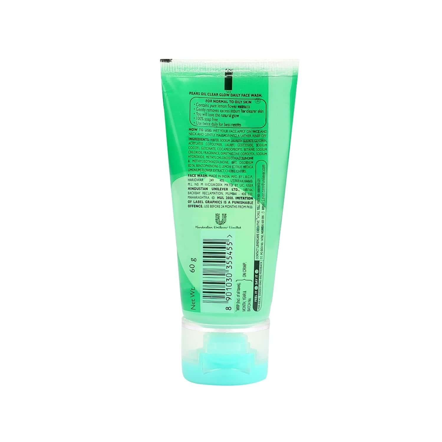 Pears Oil Clear Glow Face Wash Tube Of 60 G