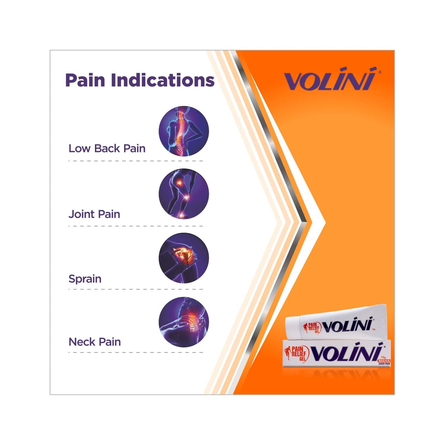 Volini  Pain Relief Gel  Tube Of 75 G