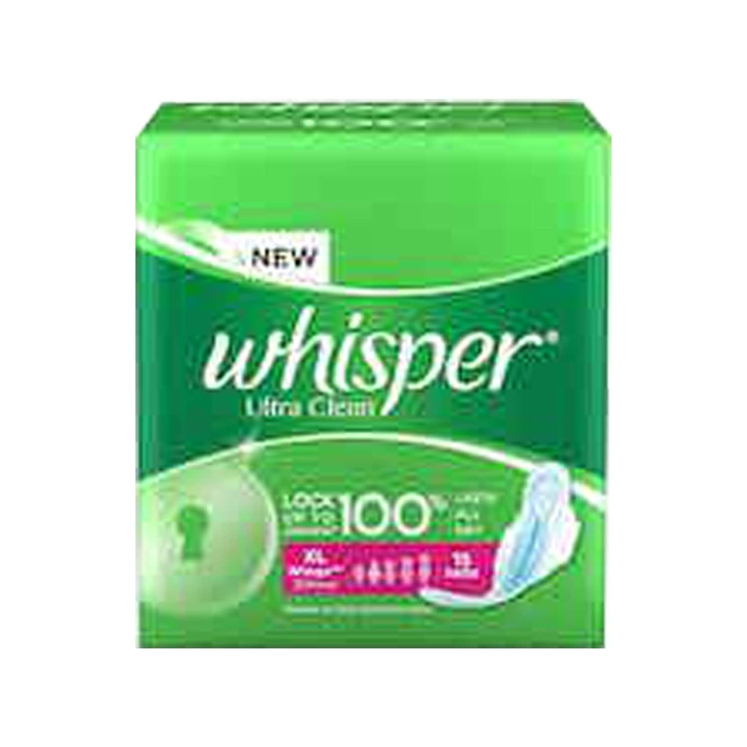 Whisper Ultra Clean Sanitary Pads Extra Large Wings 15 Pieces
