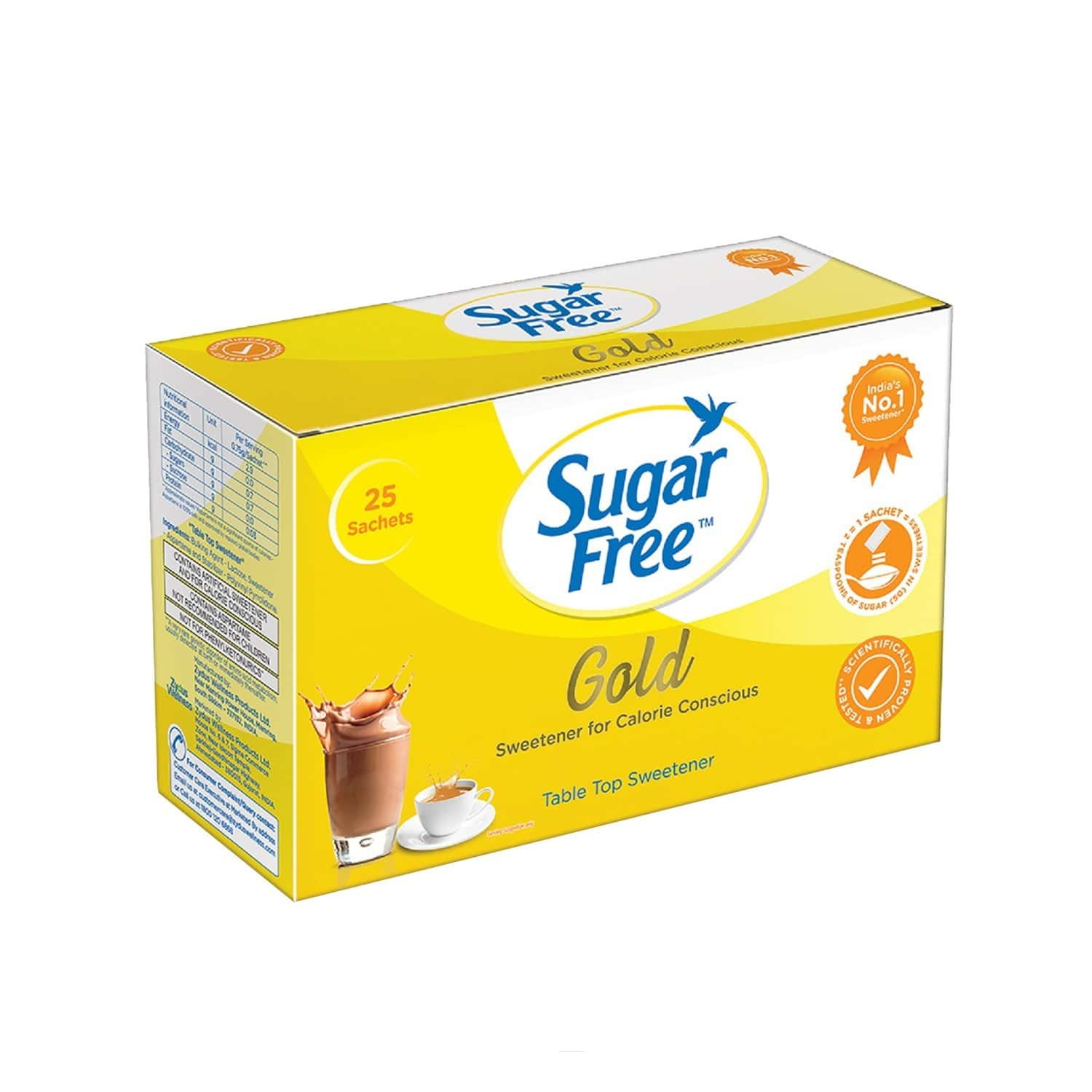 Sugar Free Gold Sweetener Sachets Low Calorie Sachet Of 25