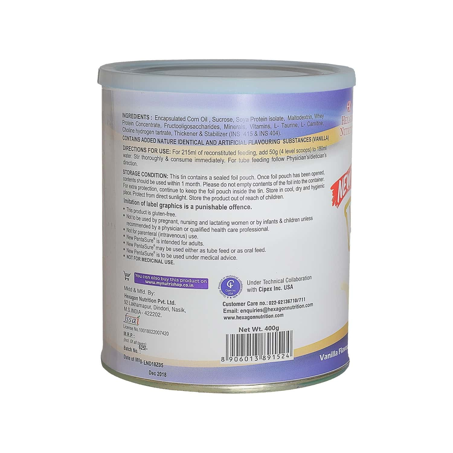 Pentasure Vanilla Nutrition Supplement Tin Of 400 G