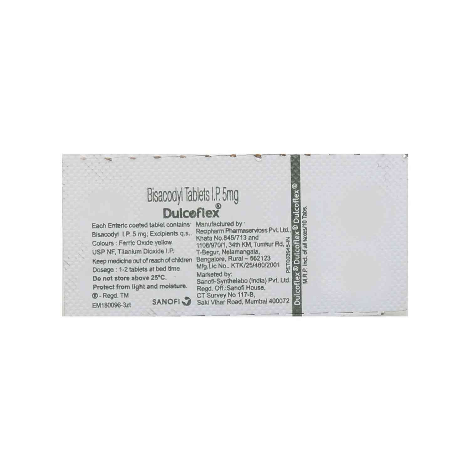 Dulcoflex 5mg Strip Of 10 Tablet