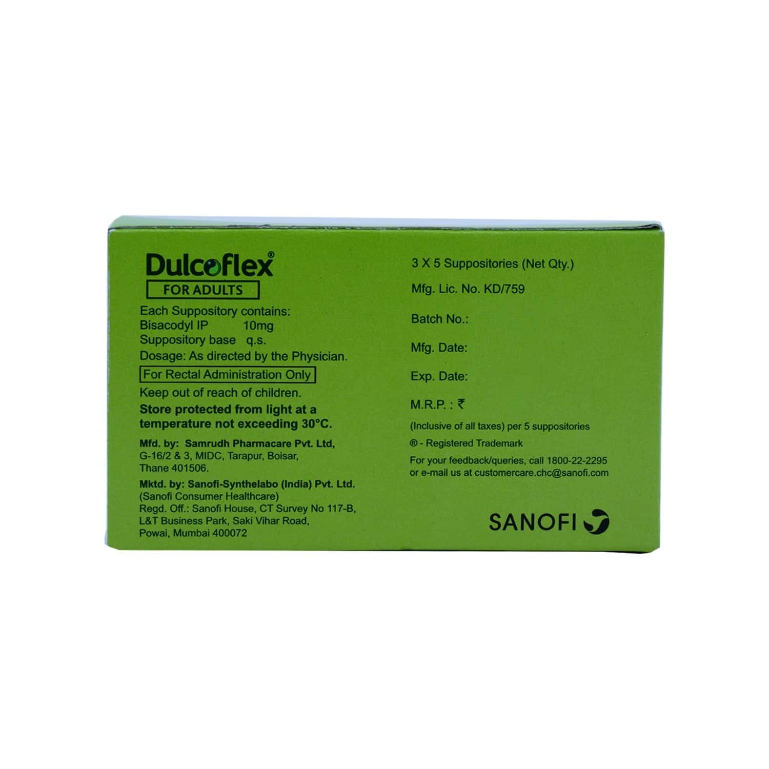 Dulcoflex 10mg Suppository For Adults - 5's