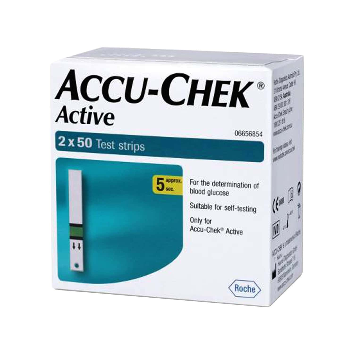 Accu-chek Active Glucometer Test Strips Box Of 100