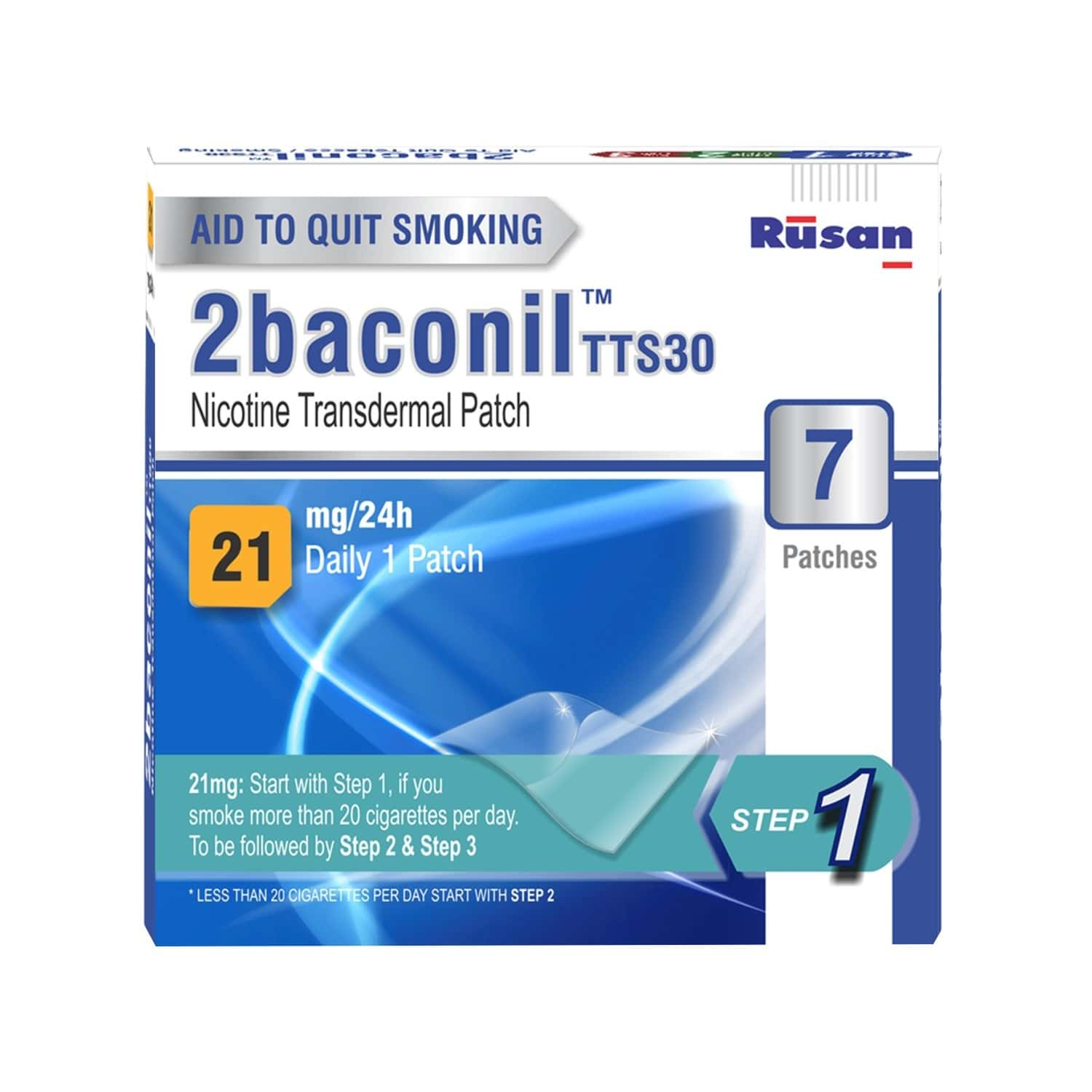2baconil - 21mg Step 1 Nicotine Patch Packet Of 7 's
