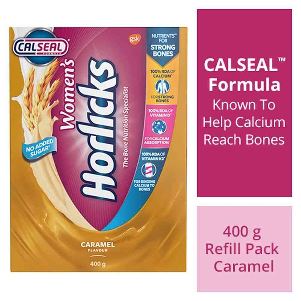 Womens Horlicks Caramel Nutrition Drink Powder  Box Of 400 G