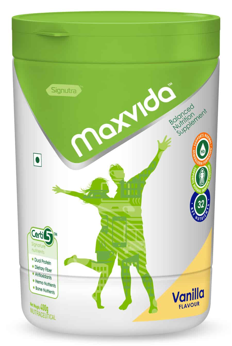 Maxvida Balanced Nutrition Supplement For Adults - Vanilla 400 Gm