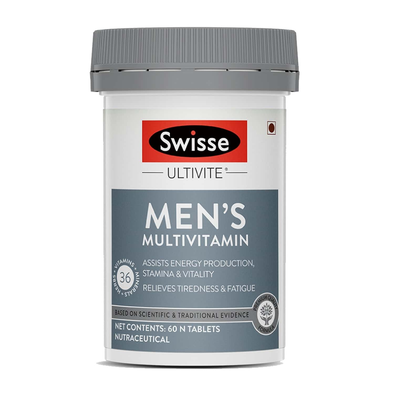 Swisse Ultivite Men's Multivitamin Supplement For Relieving Fatigue & Tiredness And Assisting Energy Stamina & Vitality Production - 60 Tablets