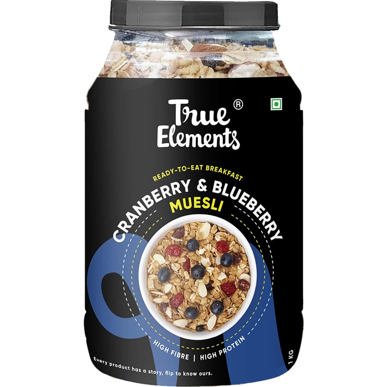 True Elements Cranberry And Blueberry Muesli - 1000gm