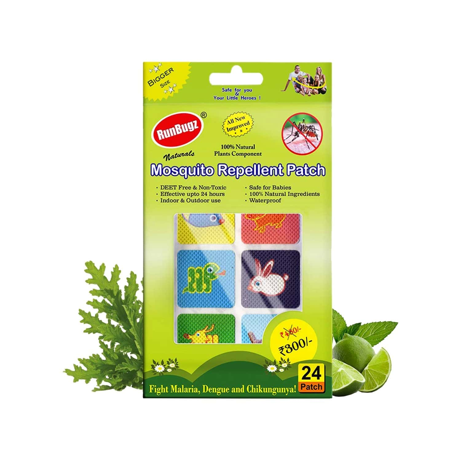 Runbugz Mosquito Repellent Animal Patches For Babies, 24 Patches