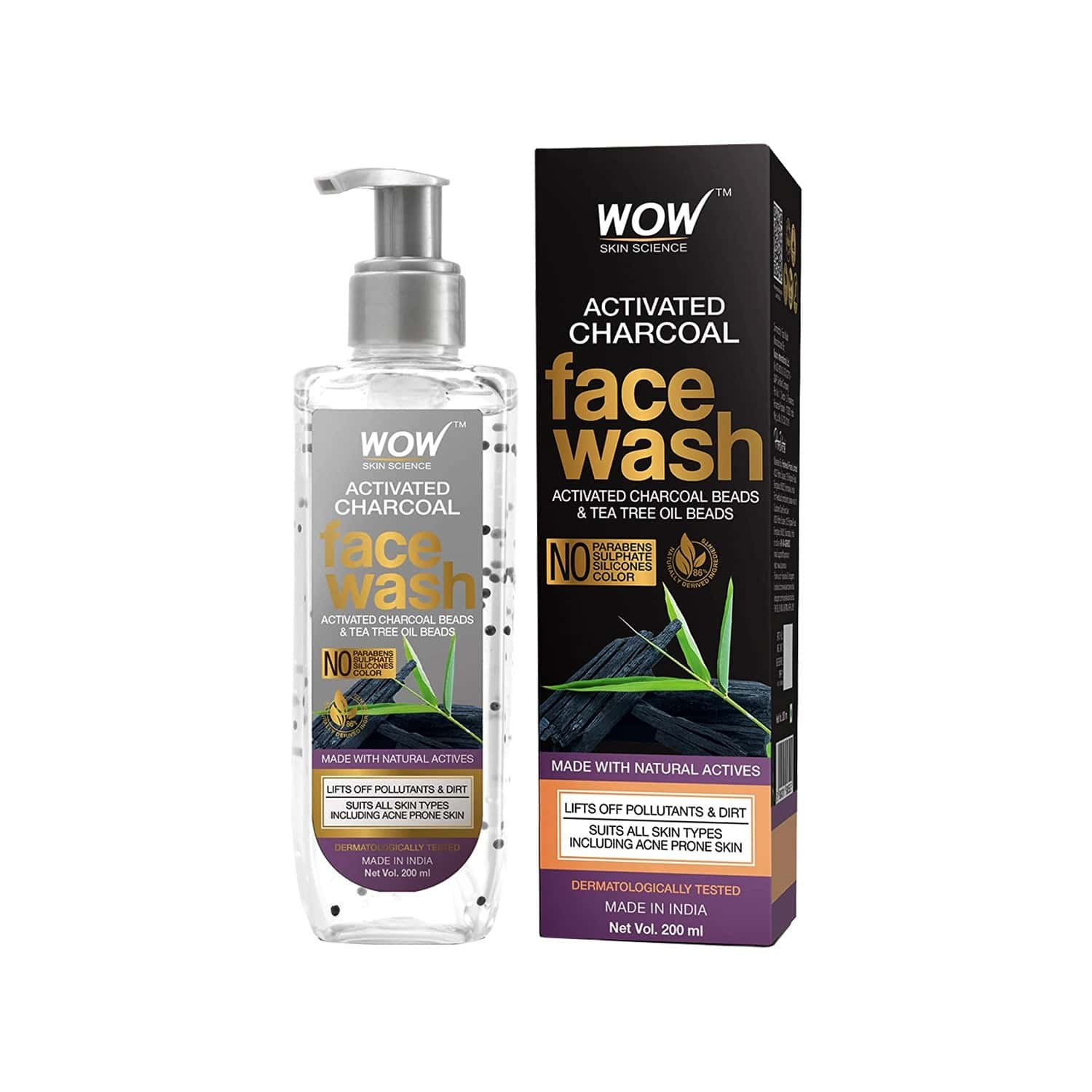 Wow Skin Science Activated Charcoal Face Wash - 200ml