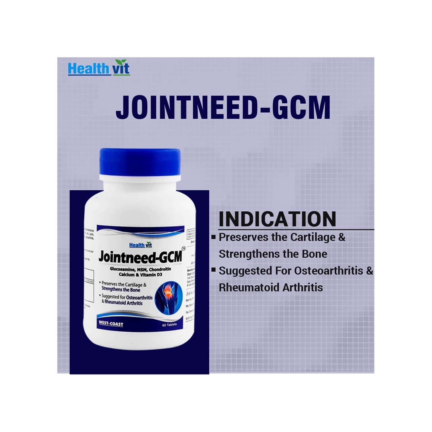 Healthvit Jointneed Gcm For Bone, Muscle Health & Joint Support Of Men & Women - 60 Tablets