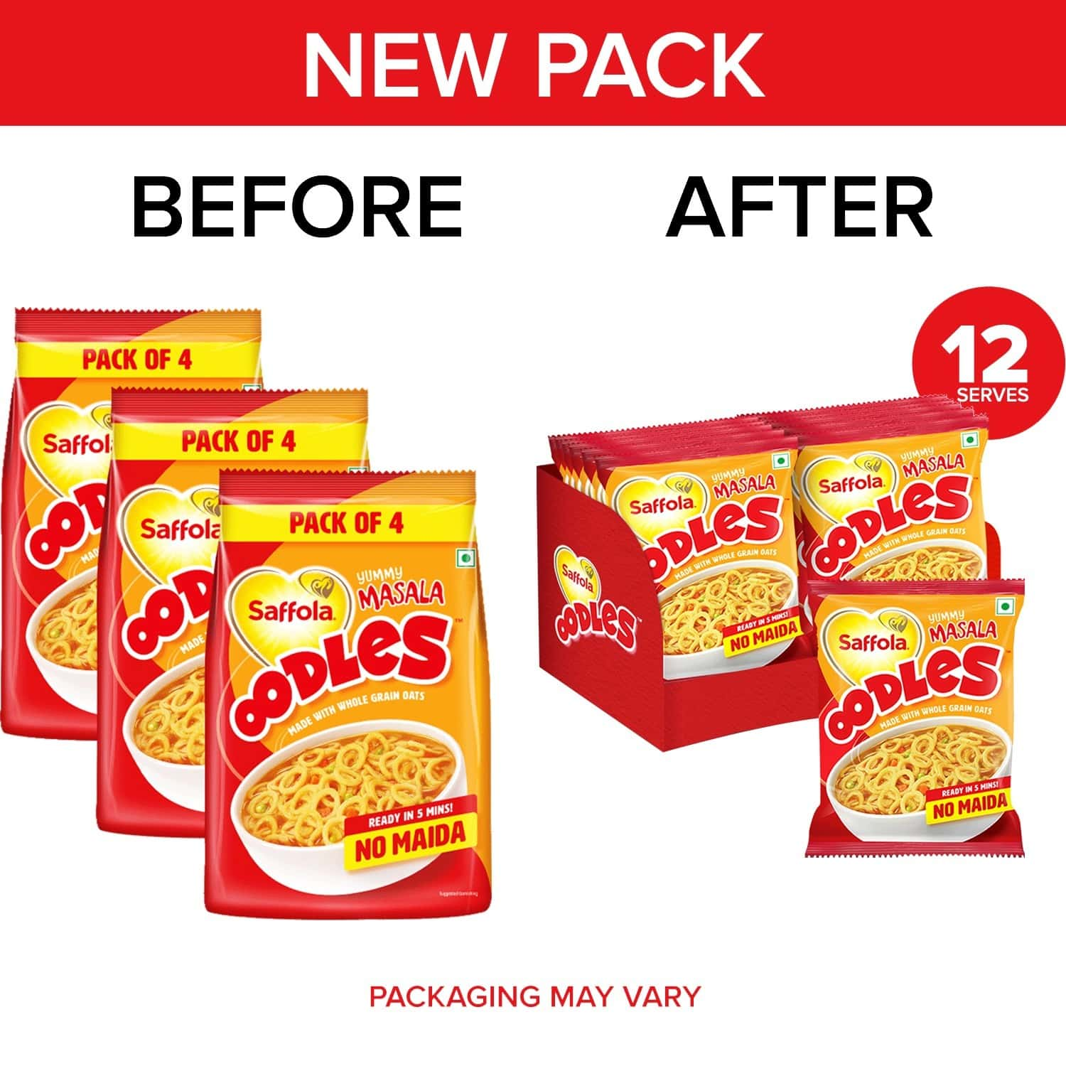 Saffola Oodles, Ring Noodles, Yummy Masala Flavour, No Maida, 3 X 184g Pouch (12 Packs)