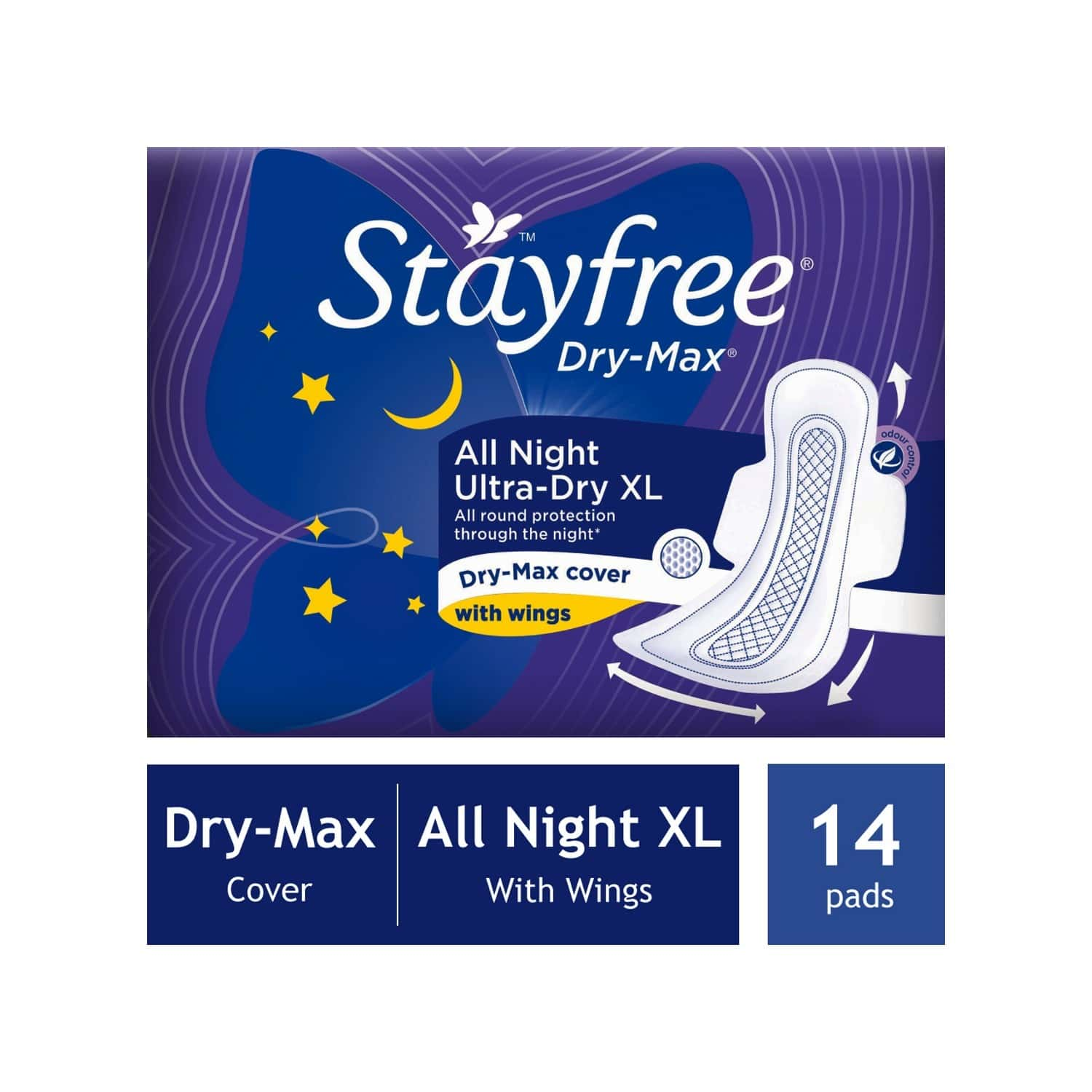 Stayfree Drymax Ultra All Nights Size Xl Sanitary Pads Packet Of 14