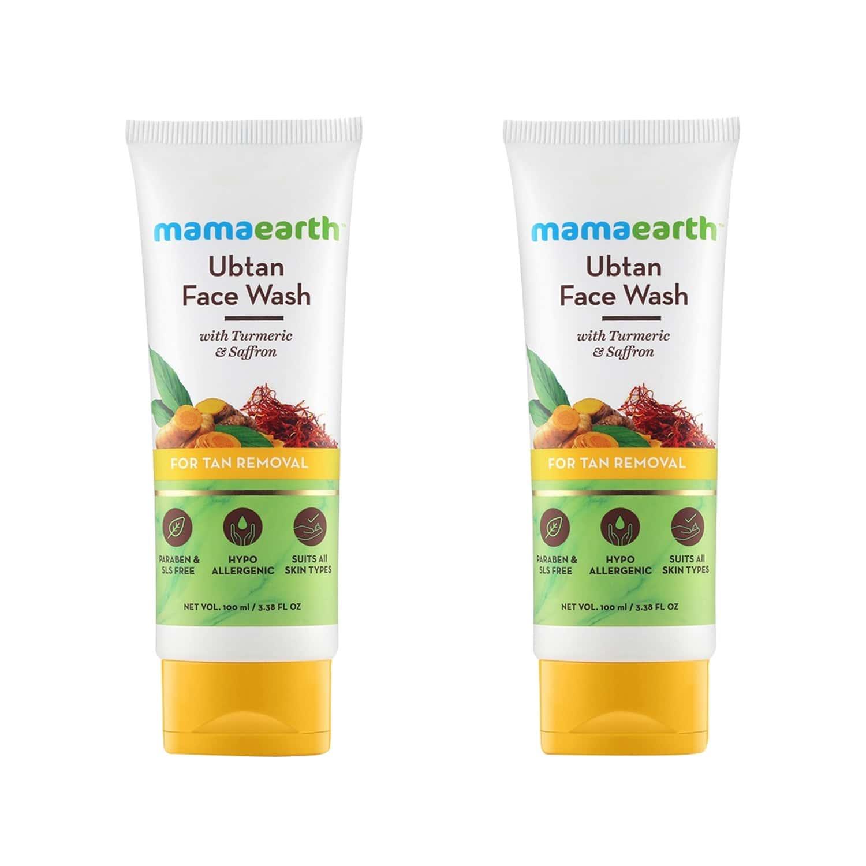 Mamaearth Ubtan Natural Turmeric & Saffron Face Wash  Tube Of 200 Ml (100ml X 2)
