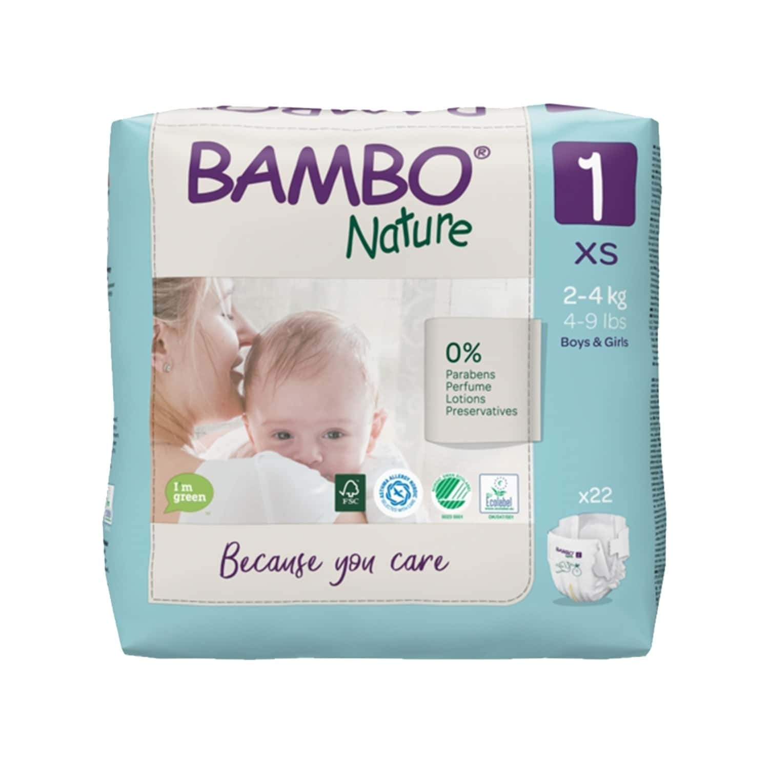 Bambo Nature Xs Size Diaper With Wetness Indicator - 22 Diapers
