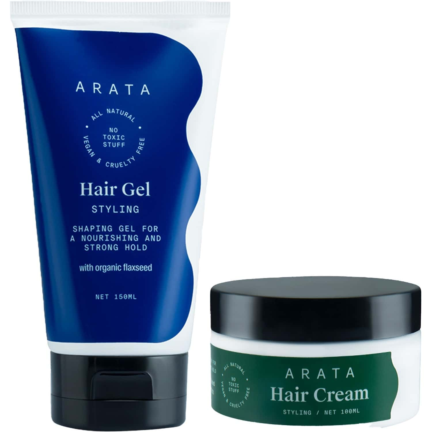 Arata Natural Hair Styling Combo With Hair Gel (150 Ml )& Hair Cream (100 Ml) For Women & Men || All Natural,vegan & Cruelty Free || For Nourishing ,styling & Strong Hold