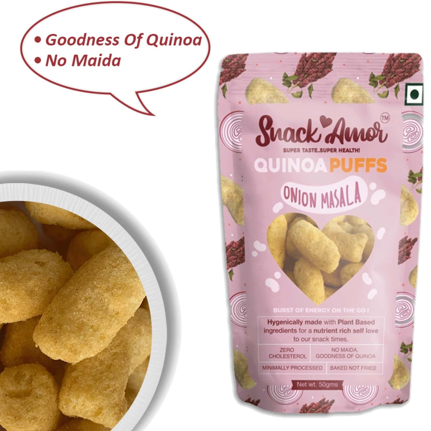 Snack Amor Quinoa Puffs Onion Masala-nutritional Snacks - Pack Of 1 X 50g