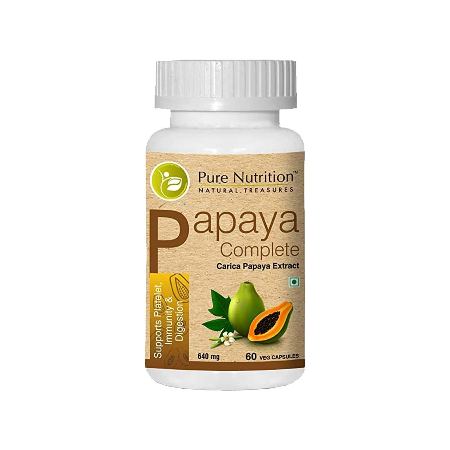 Pure Nutrition Papaya Complete 640 Mg, With Vitamin C, Vitamin A & Iron, Supports Platelet, Immunity & Digestion - 60 Veg Capsules