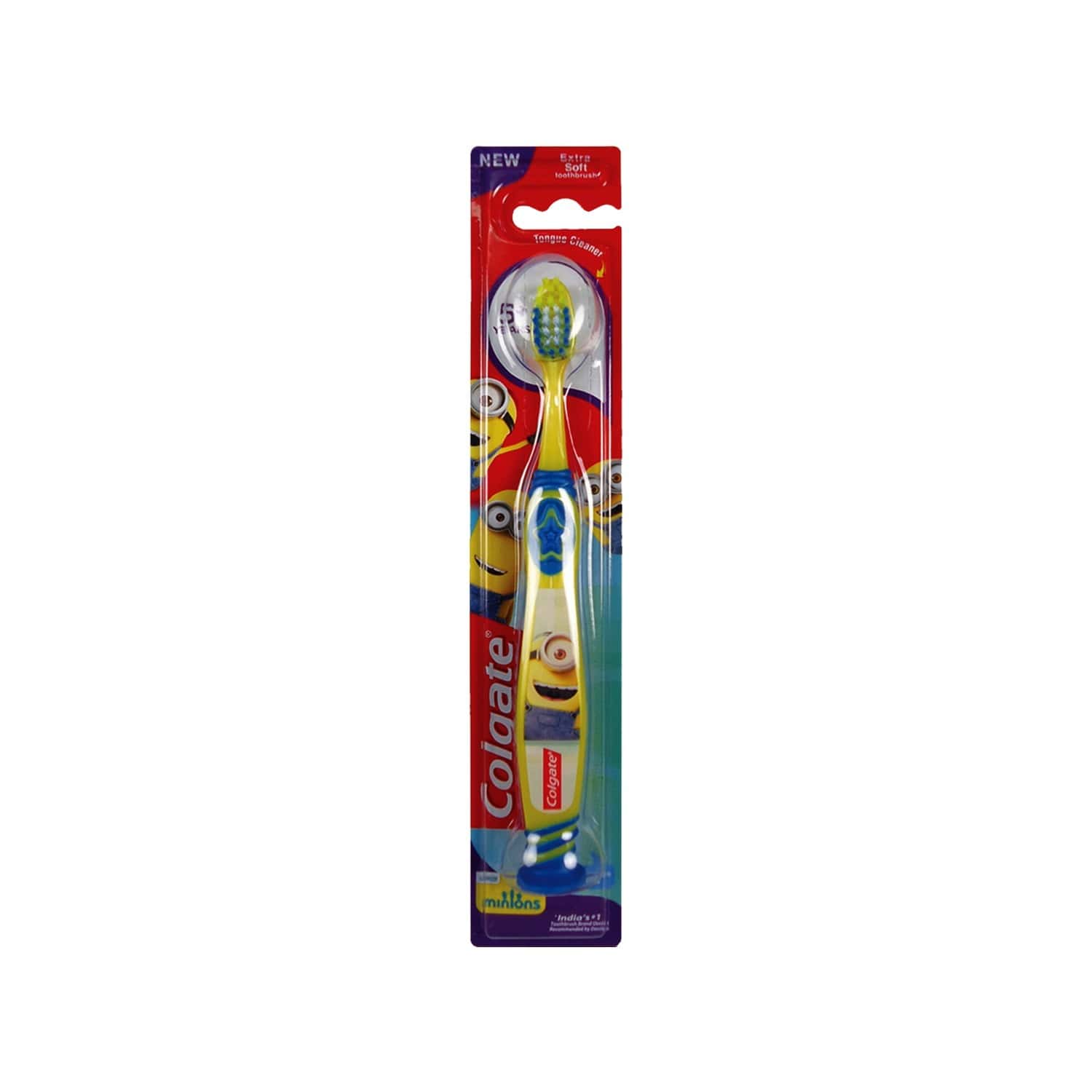 Colgate Kids (5+ Years) Minion Toothbrush, Extra Soft With Tongue Cleaner - 1 Pc