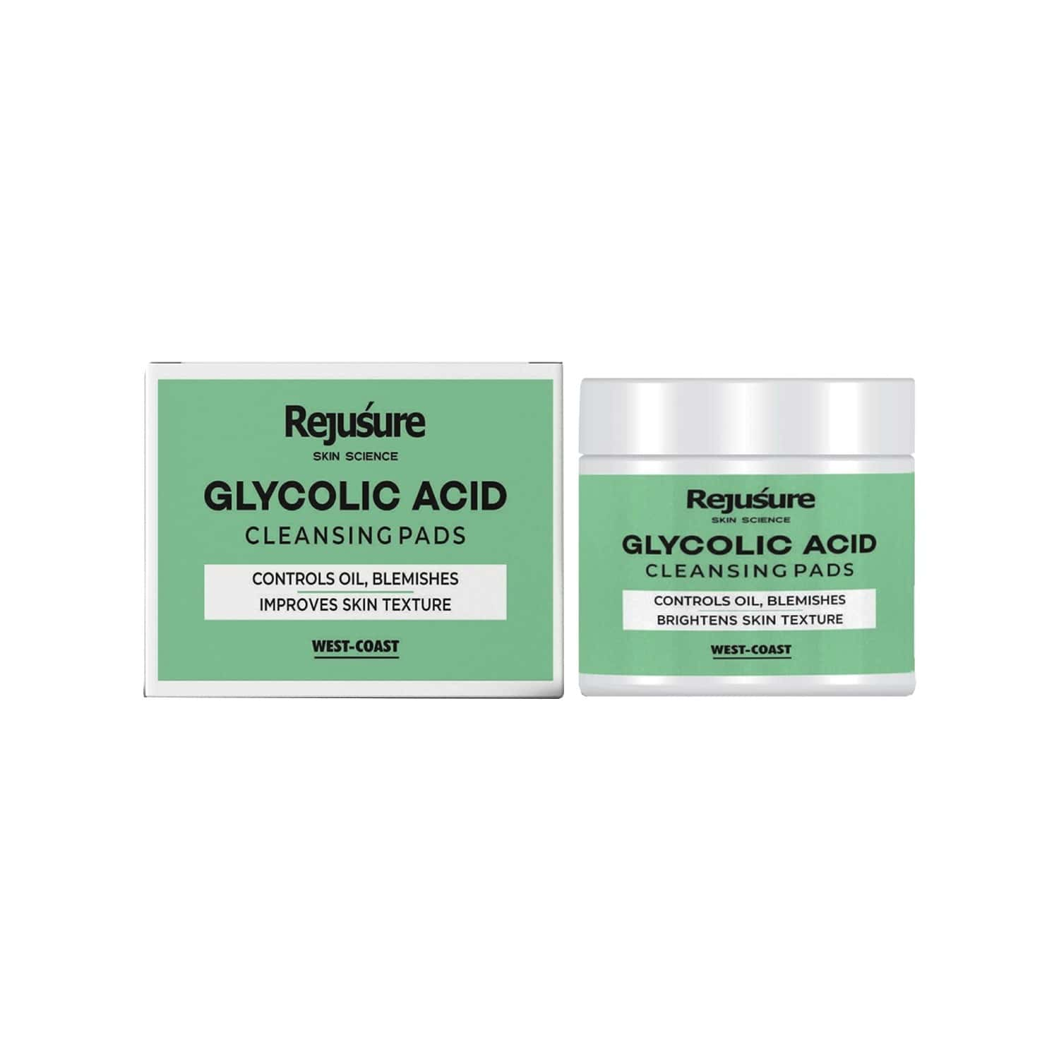West Coast Rejusure Glycolic Acid Cleansing Pads - Controls Oil, Blemishes Brightens Skin Texture - 50 Pads