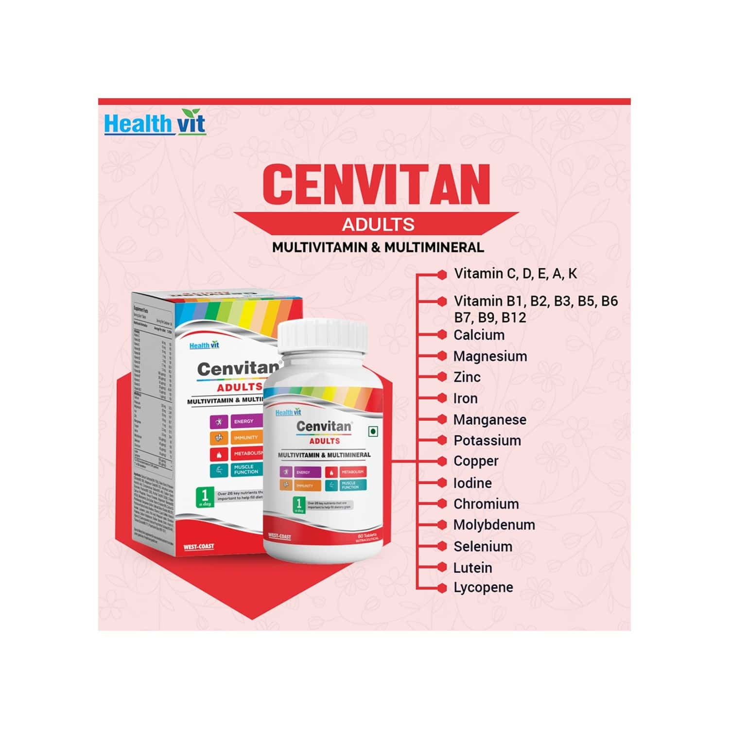 Healthvit Cenvitan Adults Multivitamin & Multimineral With 26 Nutrients (vitamins And Minerals) - 60 Tablets