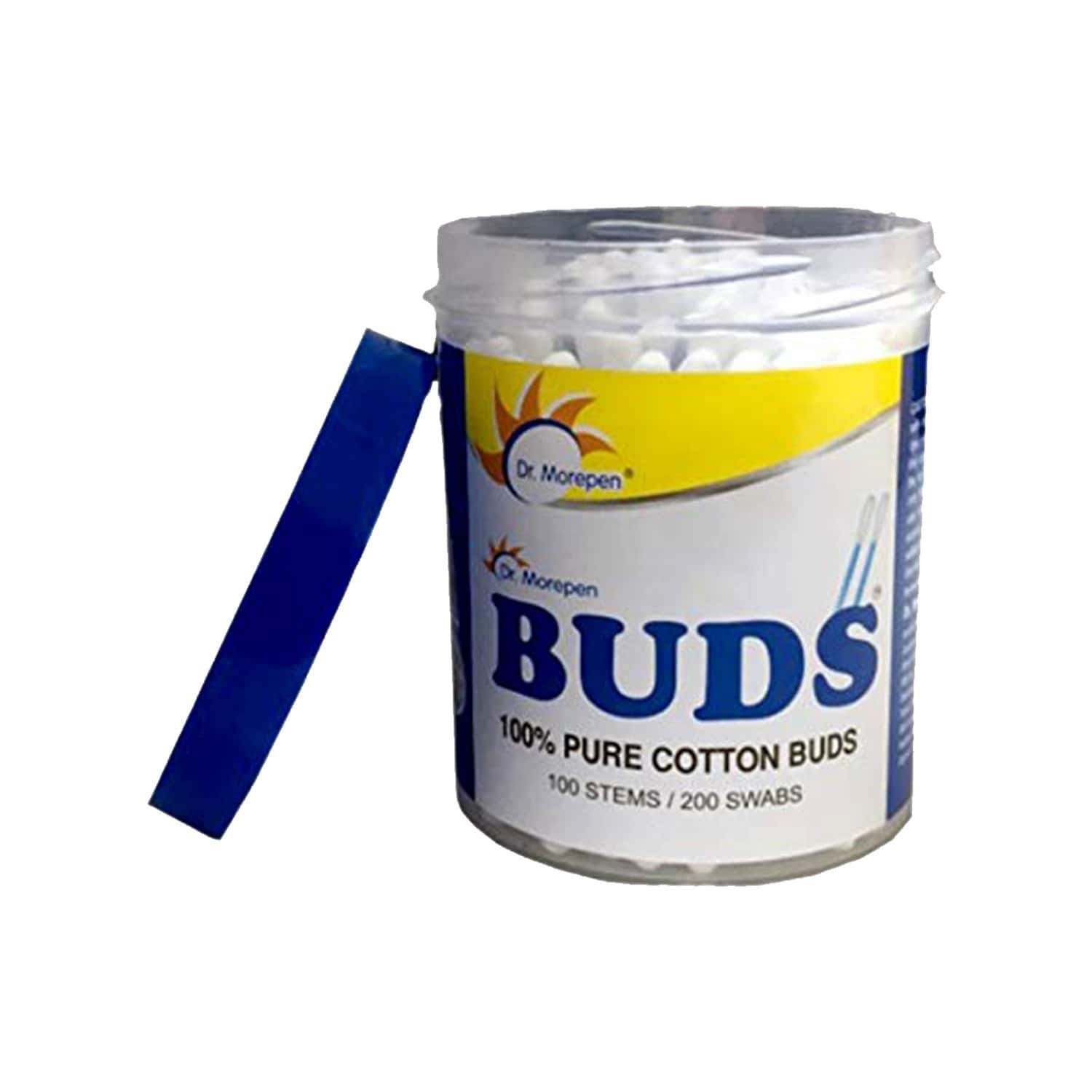 Dr. Morepen Buds 100% Pure Cotton Earbuds (100 Stem/200 Swabs)